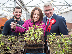 Scottish Labour leader Kezia Dugdale visits Alba Trees in Gladsmuir, East Lothian with local candidate Martin Whitfield as part of the General Election campaign. They are pictured with worker Craig Shearer.<br /> <br /> © Dave Johnston/ EEm
