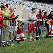 Fans watching AC Milan training in preparation for the Guinness International Champions Cup tie with Chelsea at MetLife Stadium, East Rutherford, New Jersey, USA.  3rd August 2013. Photo Tim Clayton