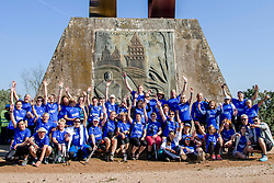 16-06-2017 NED: We hike to change diabetes day 6, Santiago de Compostela <br /> De laatste dag van Herrerias de Valcarce naar Santiago de Compastela. Op Monte Gozo werd de eerste groepfoto gemaakt samen de Fundación para le Diabetes