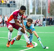 ALMERE - Hockey - Hoofdklasse competitie heren. ALMERE-HGC (0-1) .  Terrance Pieters (Almere) . rechts Tristan Algera (HGC)  COPYRIGHT KOEN SUYK