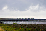 The railway line over the Hindenburgdamm links the island of Sylt with the mainland.
