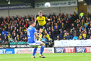 Burton Albion's Stephen Warnock heads towards goal during the EFL Sky Bet Championship match between Burton Albion and Ipswich Town at the Pirelli Stadium, Burton upon Trent, England on 28 October 2017. Photo by John Potts.