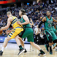 10 March 2017: Denver Nuggets center Mason Plumlee (24) posts up Boston Celtics center Kelly Olynyk (41) while Boston Celtics center Al Horford (42) defends on Denver Nuggets forward Darrell Arthur (00) during the Denver Nuggets 119-99 victory over the Boston Celtics, at the Pepsi Center, Denver, Colorado, USA.