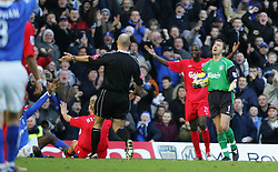 BIRMINGHAM, ENGLAND - SATURDAY FEBRUARY 12th 2005: Liverpool's goalkeeper Jerzy Dudek protests to referee Howard Webb after he awarded Birmingham a penalty during the Premiership match at St. Andrews (Pic by David Rawcliffe/Propaganda)