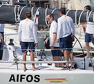 Palma de Mallorca, 05-08-2015<br /> <br /> <br /> King Felipe joins the Copa del Rey sail contest at the sailing vessel  AIFOS.<br /> Royalportraits Europe/Bernard Ruebsamen