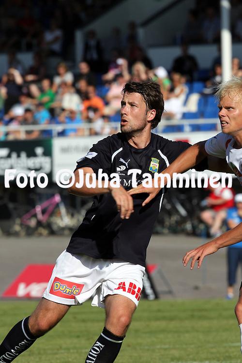 30.7.2011, Tehtaan kentt?, Valkeakoski..Veikkausliiga 2011, FC Haka - Myllykosken Pallo-47..Riley O'Neill - MyPa.