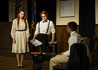 "Rachel Brown (Brittney Pond), Henry Drummond (John Hammond) and Bertram Cates (Sebastian Huot) during Laconia High School's dress rehearsal for ""Inherit The Wind"" on Wednesday afternoon.  (Karen Bobotas/for the Laconia Daily Sun)"