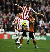 Britannia Stadium Stoke City v Wolverhampton Wanderers  (2-2) 31/10/09.Ouch -  Glenn Whelan (Stoke) controls the ball.