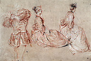 A Flautist and Two  Women' Study in red chalk.   Jean-Antoine Watteau (1684-1721) French  Rococo painter.