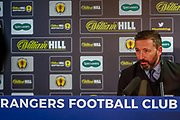 Aberdeen FC Manager Derek McInnes give his post match interview to the assembled press following his sides 2-0 win over Rangers at Ibrox in the  the William Hill Scottish Cup quarter final replay, Glasgow, Scotland on 12 March 2019.
