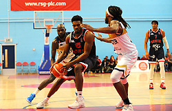 Robert Crawford of Worcester Wolves applies pressure on Marcus Delpeche of Bristol Flyers - Photo mandatory by-line: Nizaam Jones/JMP- 24/11/2018 - BASKETBALL - SGS Wise Arena - Bristol, England - Bristol Flyers v Worcester Wolves - British Basketball League Championship