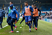 Cardiff players warming up during the EFL Sky Bet Championship match between Leeds United and Cardiff City at Elland Road, Leeds, England on 3 February 2018. Picture by Paul Thompson.