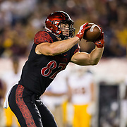 15 September 2018: San Diego State Aztecs tight end Kahale Warring (87) catches a pass for a first down in the second quarter. The Aztecs beat the Sun Devils 28-21 at SDCCU Stadium in San Diego, California.