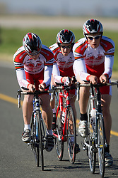 The University of Maryland - College Park team of Matthew Barston, Richard Distad, and Allan Wallace competes in the men's division 1 race.  The 2008 USA Cycling Collegiate National Championships Team Time Trial event was held near Wellington, CO on May 9, 2008.  Teams of 3 or 4 riders raced over a 20km out and back course that ran along a service road to Interstate 25.