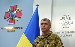 October 9, 2018 - Kyiv, Ukraine - Deputy chief of the General Staff Maj Gen Rodion Tymoshenko holds a briefing on the situation at the 6th arsenal of the Ukrainian Armed Forces near Ichnia, Chernihiv Region, affected by a fire and explosions, at the press centre of the Ukrainian Defence Ministry, Kyiv, capital of Ukraine, October 9, 2018. As reported, four explosions caused a large-scale fire at the warehouses of А1479 military base near Ichnia at 3:30 am local time on October 9. Ukrinform. (Credit Image: © Olena Khudiakova/Ukrinform via ZUMA Wire)
