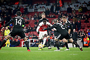 Arsenal's Bukayo Saka (87) during the Europa League group stage match between Arsenal and FK QARABAG at the Emirates Stadium, London, England on 13 December 2018.