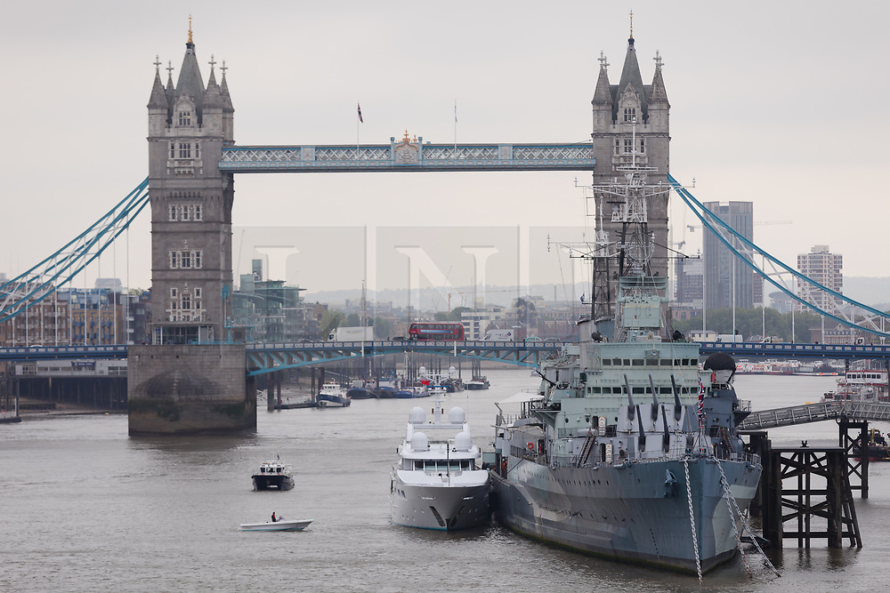 © Licensed to London News Pictures. 16/05/2018. London, UK. Superyacht, Lady M II moored next to HMS Belfast after passing under Tower Bridge this morning. The 164 feet long superyacht, Lady M II (previously named Lady M) is rumoured to be owned by politician and businessman, Lord Ashcroft. A different superyacht, called Lady M visited Glasgow and Cumbria last year and was reported to be owned by Russia's richest Billionaire, Alexi Mordashov. Lady M II sleeps up to 11 guests in 6 rooms and is also capable of carrying up to 12 crew onboard. Lady M II was designed by Donald Starkey with various luxuries onboard, including a deck jacuzzi and is advertised for charter at USD180,000 per week plus expenses. Photo credit: Vickie Flores/LNP
