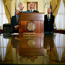 Governor Butch Otter struggles to find the right words during a press conference in the Idaho State Capitol. Thursday April 2, 2015