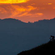Andrew Whiteford rides under and through the light of sunset.