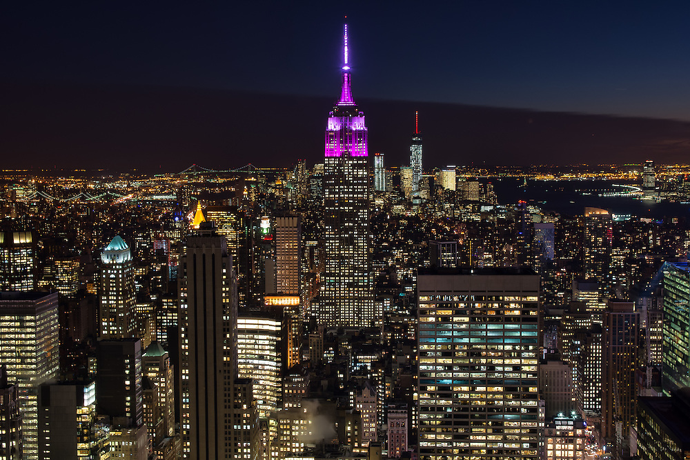 Empire State Building lit up at night
