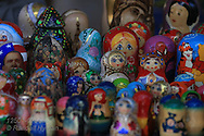 Matryoshka dolls for sale at the Festival of Nations celebration in Tower Grove Park featuring dance, music, crafts and foods from around the world; St. Louis, Missouri.