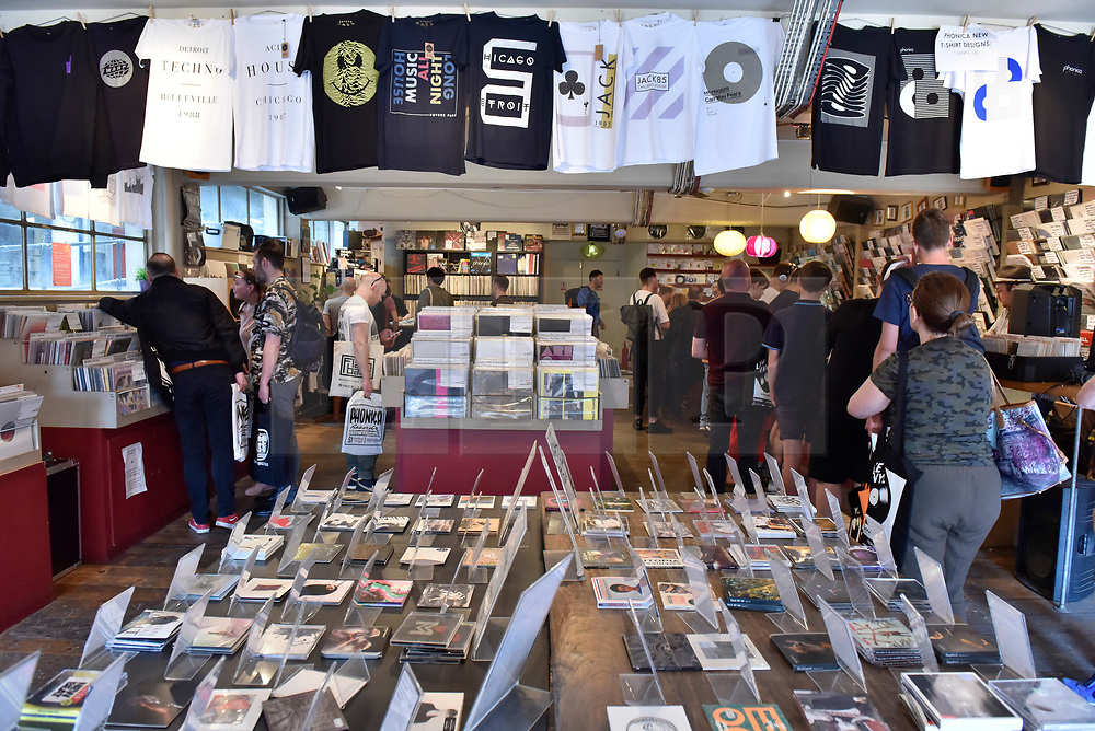© Licensed to London News Pictures. 21/04/2018. LONDON, UK.  Analogue music fans inside an independent record shop in Soho on the 11th annual Record Store Day.  Over 200 independent record shops all across the UK come together to celebrate the unique culture of vinyl music with special releases made exclusively for the day.  Photo credit: Stephen Chung/LNP