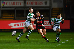 Dragons' Hallam Amos in action during todays match<br /> <br /> Photographer Craig Thomas/Replay Images<br /> <br /> EPCR Champions Cup Round 4 - Newport Gwent Dragons v Newcastle Falcons - Friday 15th December 2017 - Rodney Parade - Newport<br /> <br /> World Copyright © 2017 Replay Images. All rights reserved. info@replayimages.co.uk - www.replayimages.co.uk