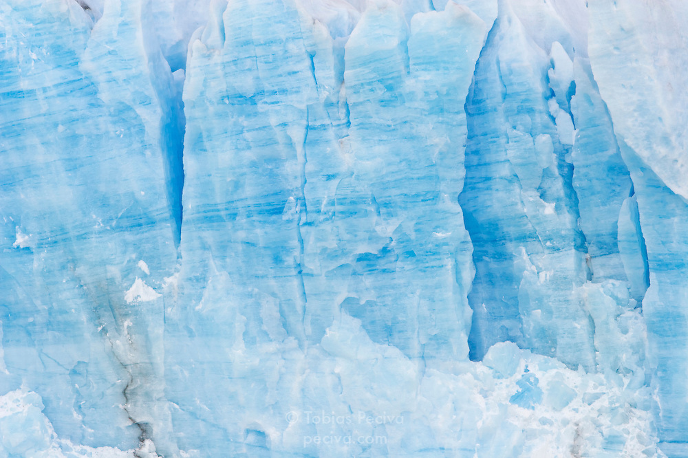 Detail of the terminal face of the Perito Moreno Glacier. The glacier is a popular hiking destination in Los Glaciares National Park, Argentina.