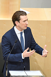 "27.05.2019, Hofburg, Wien, AUT, Sondersitzung des Nationalrates, Sitzung des Nationalrates aufgrund des Misstrauensantrags der Liste JETZT, FPOE und SPOE gegen Bundeskanzler Sebastian Kurz (OeVP) und die Bundesregierung, im Bild Sebastian Kurz (ÖVP) // during special meeting of the National Council of austria due to the topic ""motion of censure against the federal chancellor Sebastian Kurz (OeVP) and the federal government"" at the Hofburg in Wien, Australia on 2019/05/27. EXPA Pictures © 2019, PhotoCredit: EXPA/ Lukas Huter"