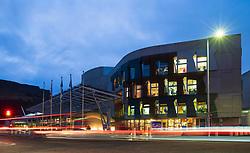 Night view of the Scottish Parliament building at Holyrood in Edinburgh, Scotland, UK