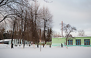 Exercise yard in Soltanovka adult mental asylum in the Mogilev region of Belarus. Chernobyl's human costs are widespread affecting about seven million people.A generation later children are being born with birth defects ,heart problems and thyroid cancer.The crippled economy of Belarus has led to poverty, social problems and domestic abuse.<br /> Photograph by Eamon Ward
