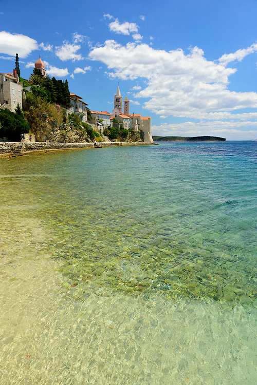 Europe, Balkan, Croatia, Rab, beach,adriatic sea at Rab