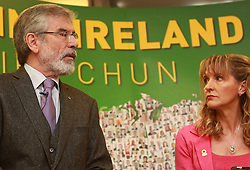 Sinn Fein's Party Leader Gerry Adams sits with their European Parliament Elections candidates Martina Anderson and Lynn Boylan (not in frame), during the launch of their party's Manifesto for the European Parliament Elections, in Belfast, Northern Ireland, Monday May 12th, 2014. Sinn Fein are putting forward four candidates for the European Elections on May 22. Monday, 12th May 2014. Picture by i-Images