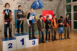 Second placed Adam Ondra of Czech republic, winner Ramon Julian Puigblanque of Spai, third placed Jakob Schubert of Austria, fourth placed Gauthier Supper of France, fifth placed Thomas Tauporn of Germany, sixth placed Jorg Verhoeven of Netherlands, seventh placed Manuel Romain of France and eighth placed Klemen Becan of Slovenia  at medal ceremony during Final IFSC World Cup Competition in sport climbing Kranj 2010, on November 14, 2010 in Arena Zlato polje, Kranj, Slovenia. (Photo By Vid Ponikvar / Sportida.com)