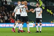 Derby County defender Andre Wisdom (2) scores and celebrates with his team mates during the The FA Cup match between Derby County and Northampton Town at the Pride Park, Derby, England on 4 February 2020.