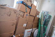 house moving Packed cardboard boxes
