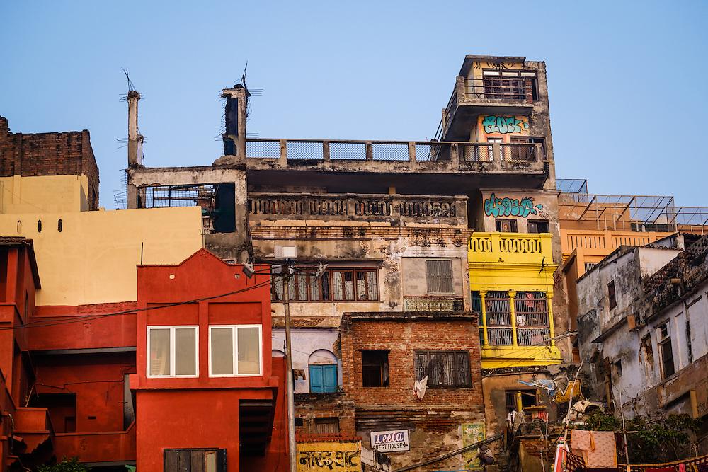 VARANASI, INDIA - CIRCA NOVEMBER 2016: Typical houses over the Ganges river in Varanasi
