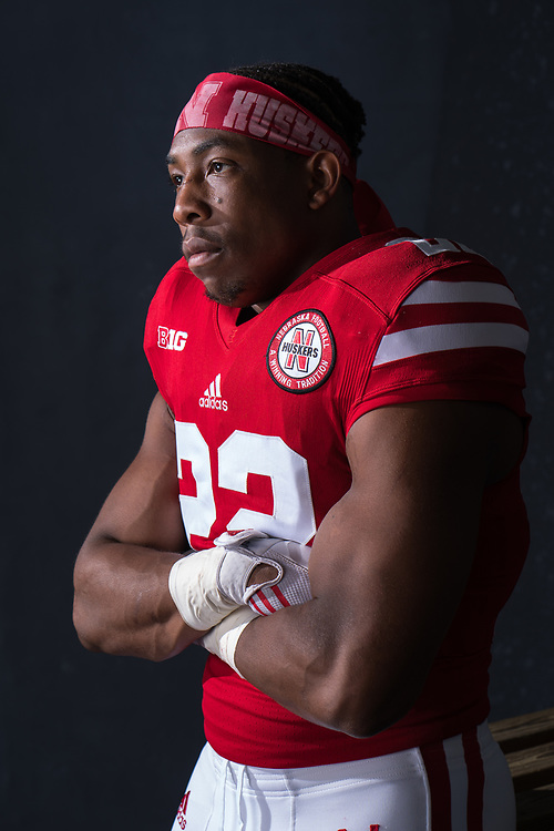 Devine Ozigbo #22 during a portrait session at Memorial Stadium in Lincoln, Neb. on June 7, 2017. Photo by Paul Bellinger, Hail Varsity