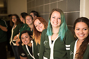 Members of Title IX, a cappella group waits to perform at at the President's Convocation for First-Year Students at the Convocation Center. Photo by Ben Siegel