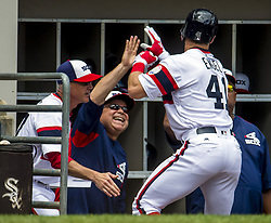 June 25, 2017 - Chicago, IL, USA - Chicago White Sox manager Rick Renteria celebrates a home run by center fielder Adam Engel (41) in the third inning against the Oakland Athletics on Sunday, June 25, 2017 at Guaranteed Rate Field in Chicago, Ill. (Credit Image: © Brian Cassella/TNS via ZUMA Wire)