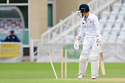 Harvey Hosein of Derbyshire looking down at his missing off stump during the Bob Willis Trophy match between Nottinghamshire County Cricket Club and Derbyshire County Cricket Club at Trent Bridge, Nottingham, United Kingdon on 4 August 2020.