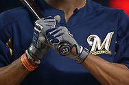 PHOENIX, AZ - JUNE 09:  Keon Broxton #23 of the Milwaukee Brewers wearing Franklin batting gloves during batting practice prior to the MLB game against the Arizona Diamondbacks at Chase Field on June 9, 2017 in Phoenix, Arizona. The Milwaukee Brewers won 8-6.  (Photo by Jennifer Stewart/Getty Images)