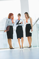 Full-length of businesswomen doing paperwork in office