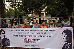 September 29, 2018 - Dhaka, Bangladesh - Nipironer Biruddhe Jonota (People against Repression), an activist group called a protest to demand unconditional release of detainees arrested in Student Movement and cancel all the laws that violate the rights of the people in front of the National Museum. (Credit Image: © MD Mehedi Hasan/ZUMA Wire)