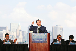 October 1, 2008; New York, NY, USA;  Golden Boy CEO Richard Schaefer speaks at the press conference announcing the December 6, 2008 fight between Oscar De La Hoya and Manny Pacquaio.  The two fighters will meet at the MGM Grand Garden Arena.