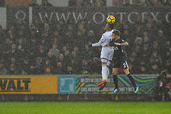 Martin Olsson of Swansea City and Kieran Trippier of Tottenham Hotspur contest the ball - Mandatory by-line: Craig Thomas/JMP - 02/01/2018 - FOOTBALL - Liberty Stadium - Swansea, England - Swansea City v Tottenham Hotspur - Premier League