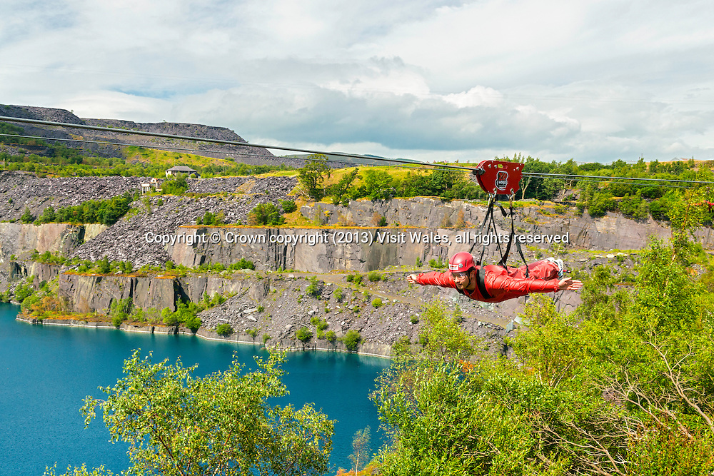 Zip Wire over Penrhyn Slate Quarry<br /> Zip World<br /> Bethesda<br /> Gwynedd<br /> Snowdonia<br /> North<br /> Tourist Attractions