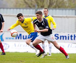 Morton's Kyle Wilkie and Falkirk's Stewart Murdoch ..half time : Falkirk 0 v 1 Morton, 4/5/2013..© Michael Schofield..