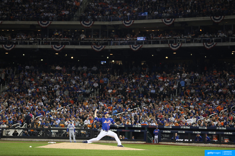 Pitcher Matt Harvey, New York Mets, pitching during the New York Mets Vs Los Angeles Dodgers, game three of the NL Division Series at Citi Field, Queens, New York. USA. 12th October 2015. Photo Tim Clayton for The Players Tribune