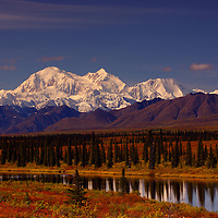 Denali photographed near Cantwell Alaska in the fall under a clear blue sky.
